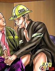 Gay firemen savoring each other's shlongs...